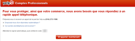 Création compte YELP