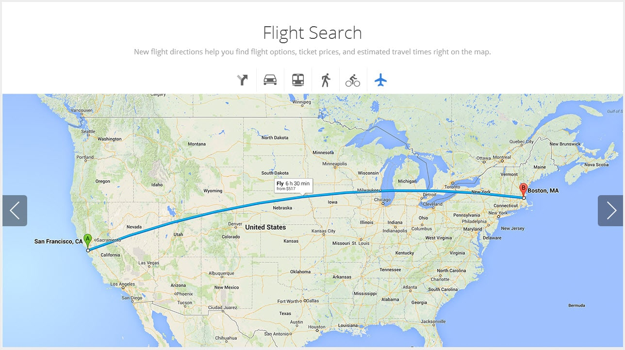 New google maps flight search