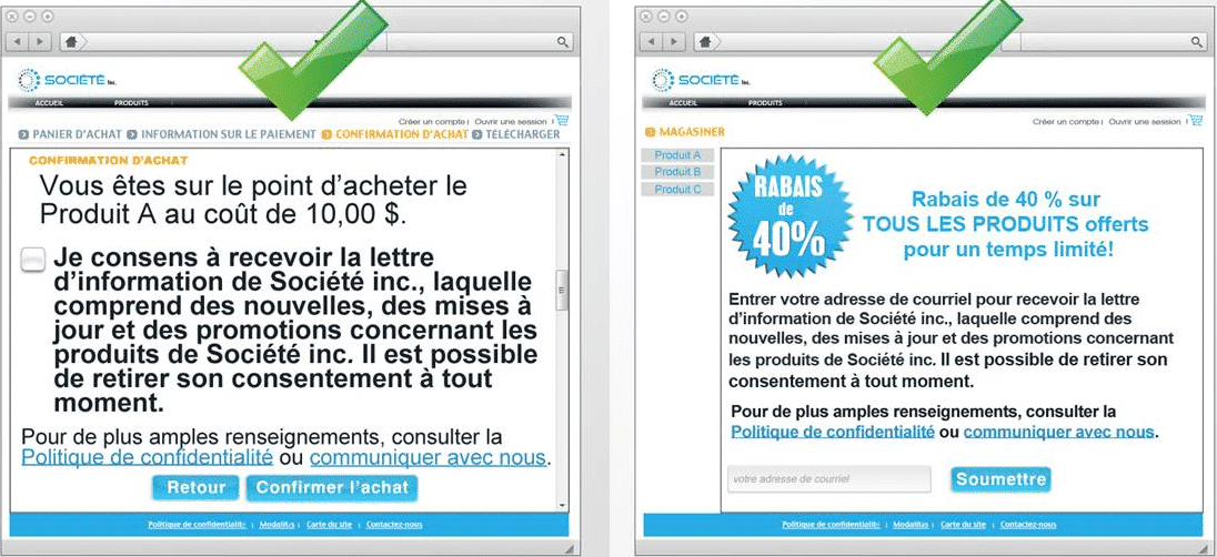 Bons exemples de opt-in