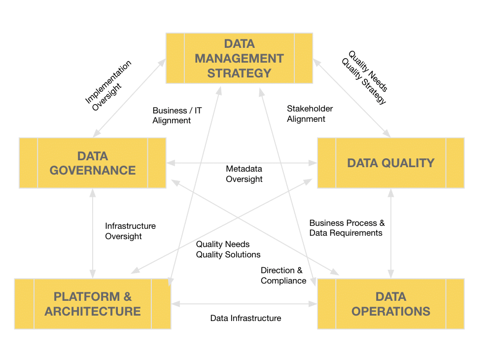 Relationship between the six data management themes of the Data Management Maturity